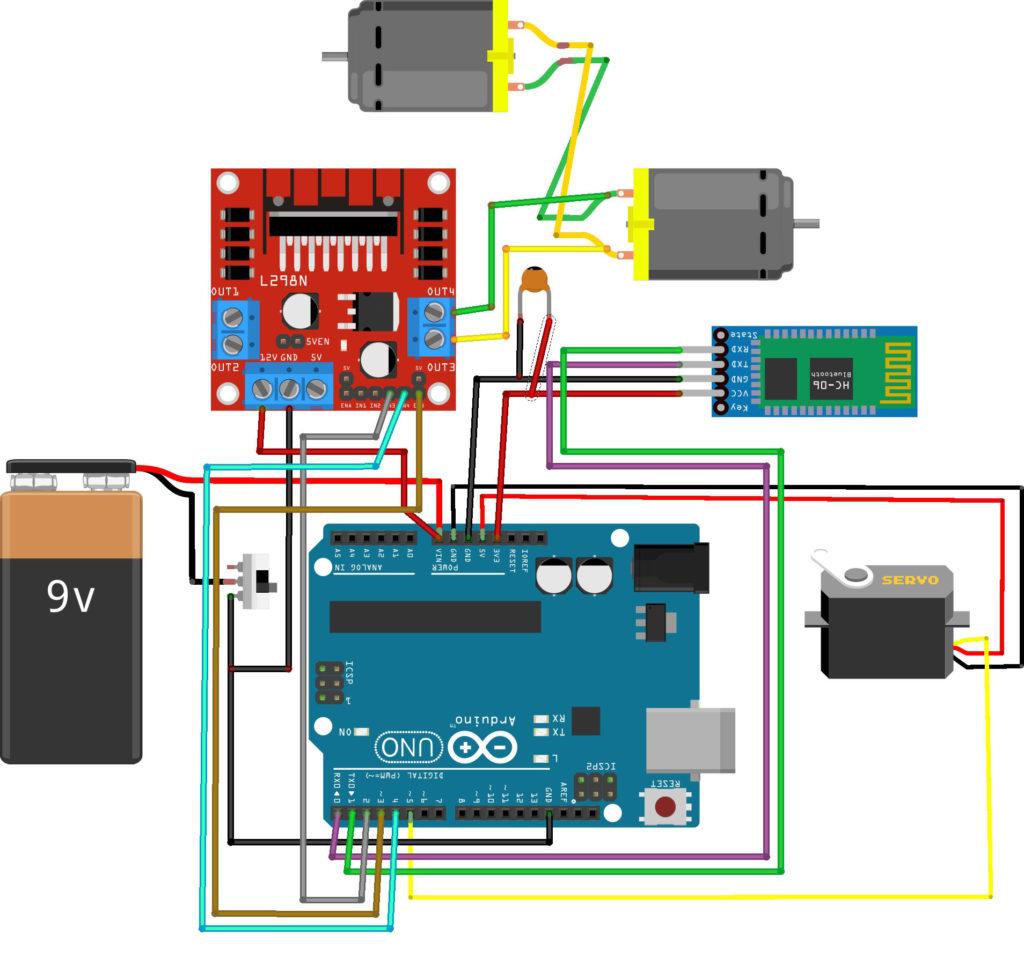 Схема подключения Bluetooth машинки на Arduino