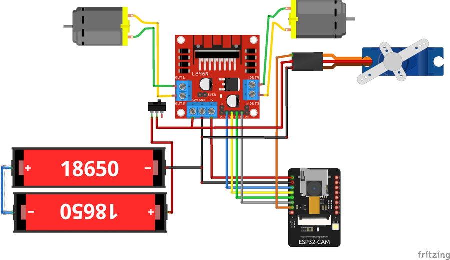 Схема вездехода на ESP32 Cam